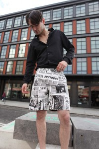 The Newspaper Print Shorts designed by Edixon Valdez. Model, Randall Harris. (Photo by Maurice Pinzon)