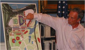 Mayor Bloomberg Shows Mets Stadium Design (Photo by Maurice Pinzon)