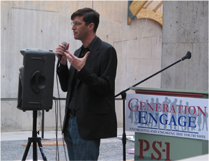 Michael Arad Speaking at the Generation Engage Event at P.S.1 in Long Island City. (Photo by Maurice Pinzon)