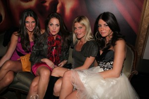 From left to right: unidentified, Roxy Olin, Lizzie Grubman and Olcay Gulsen. (Photo by Maurice Pinzon)