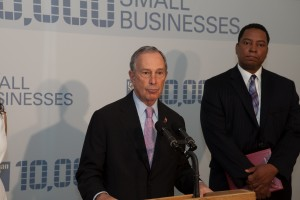 Mayor Michael R. Bloomberg at LaGuardia Community College (Photo by Maurice Pinzon)